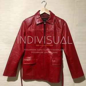Express retro belted red leather zip up jacket